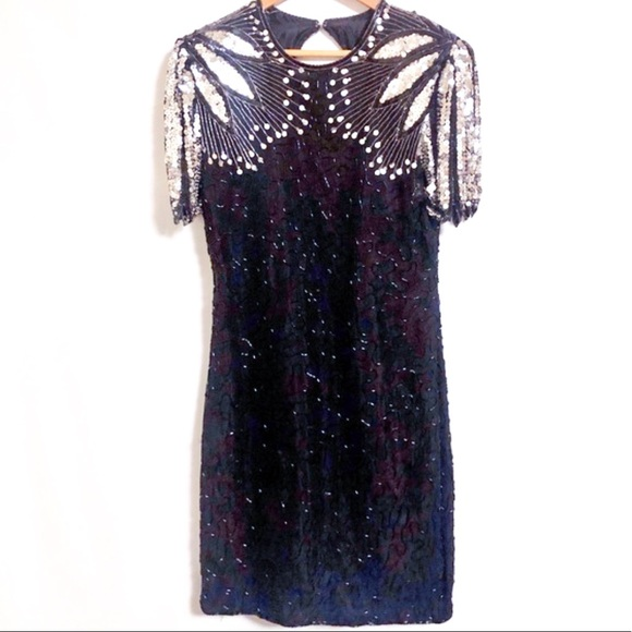 Scala Silver and Black Evening Cocktail Gown as is